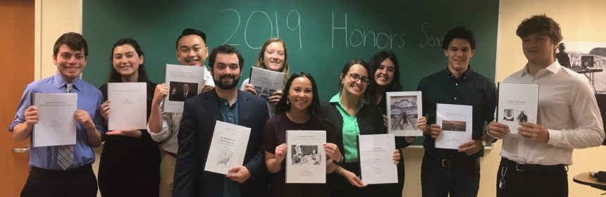 group image of students and professor from the 2019 History Senior Honors Colloquium