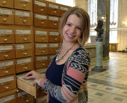 Masha Federova researching in the Russian State Library, Moscow.