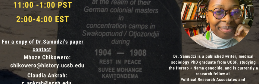 Flyer for Zoom Lecture Rewriting the Concentration Camp by UCSB Africa Center: Inaugural Lecture on 6/4/21 at 11AM-1PM PST
