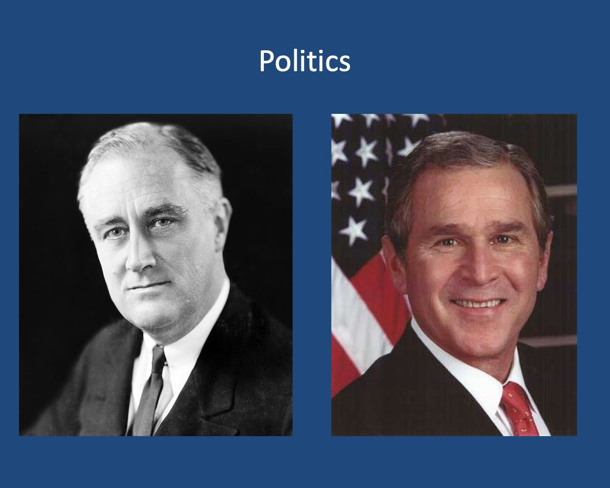 powerpoint slide about politics with George W, Bush and Franklin D. Roosevelt