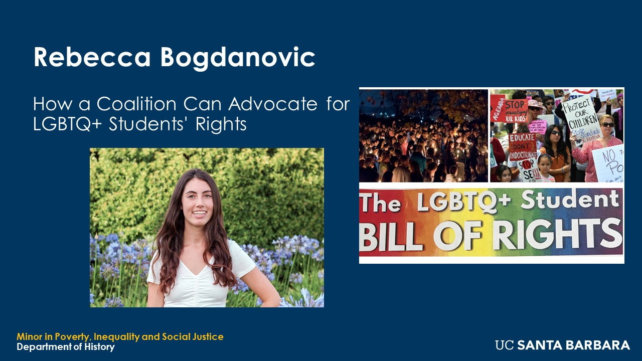 """Slide for Rebecca Bogdanovic. """"How a Coalition Can Advocate for LGBTQ+ Students' Rights"""""""
