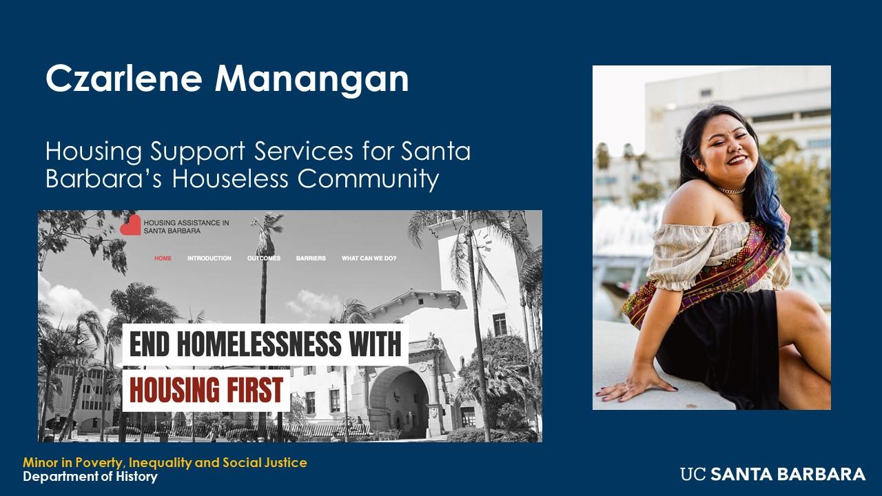 """Slide for Czarlene Manangan. """"Housing Support Services for Santa Barbara's Houseless Community"""""""