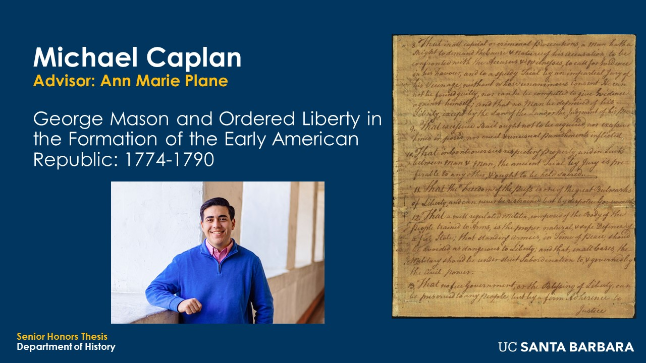 """Slide for Michael Caplan. """"George Mason and Ordered Liberty in the Formation of the Early American republic: 1774-1790"""""""