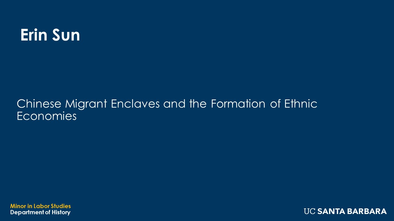 """Banner for Erin Sun. """"Chinese Migrant Enclaves and the Formation of Ethnic Economies"""""""