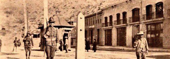 Photo of soldiers at US-Mexico border at Nogales, AZ - circa 1910-14