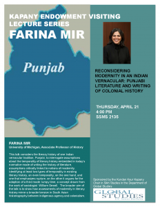 "flyer for Farina Mir: ""Reconsidering Modernity in an Indian Vernacular: Punjabi Literature and the Writing of Colonial History"""