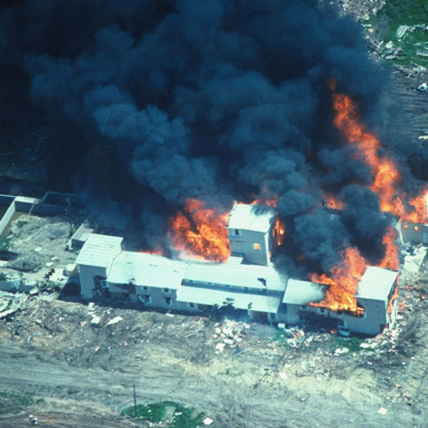 Aerial shot of the Branch Davidian compound burning