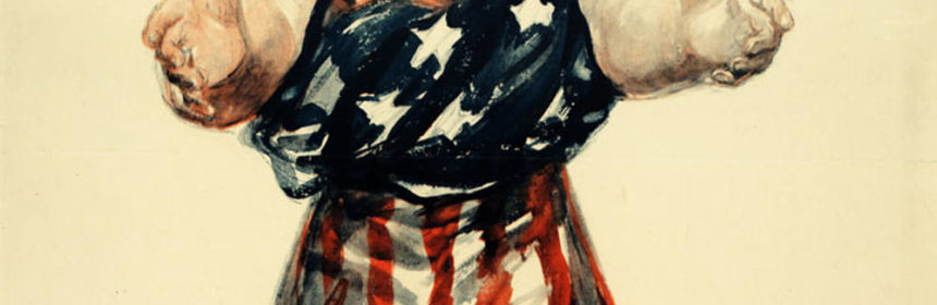 propaganda poster of a women draped in the american flag reaching out with text that says Be Patriotic sign your country's pledge to save the food from the US Food Administration